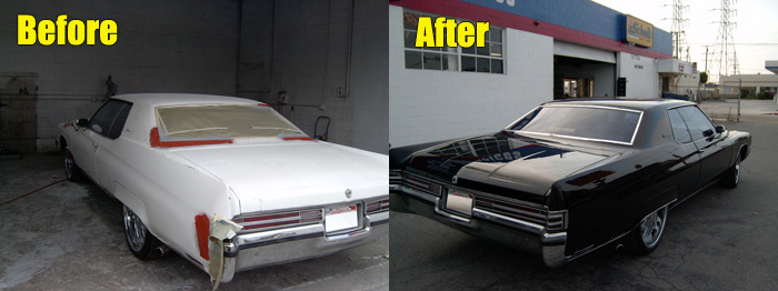 Buick before and after auto body repair and painting